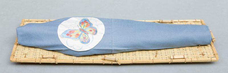 Lijkwade IJsblauw linnen met vlinder