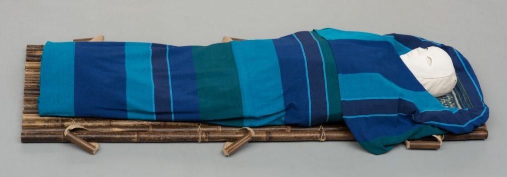 Wade Atelier Alewijn van handgeweven stof uit Sri Lanka. Streep blauw en groen